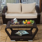 Patio Wicker Loveseat Set On Sale