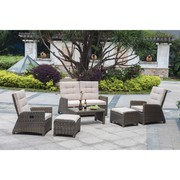 Patio Wicker Reclining Lounge Set On Sale